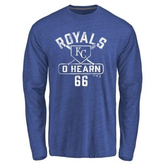 Ryan O'Hearn Kansas City Royals Men's Royal Base Runner Tri-Blend Long Sleeve T-Shirt -